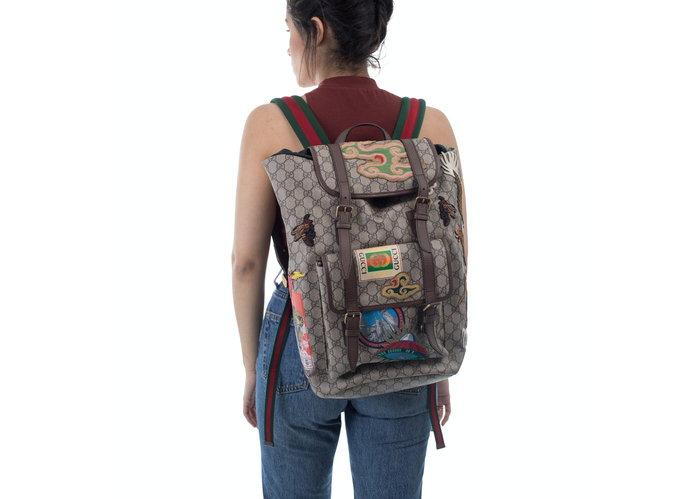 fd2a2a76e5b Gucci Courrier Soft Backpack GG Supreme Embroidered Patches Beige Ebony  Multicolor
