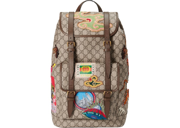 392afa3e Gucci Courrier Soft Backpack GG Supreme Embroidered Patches  Beige/Ebony/Multicolor