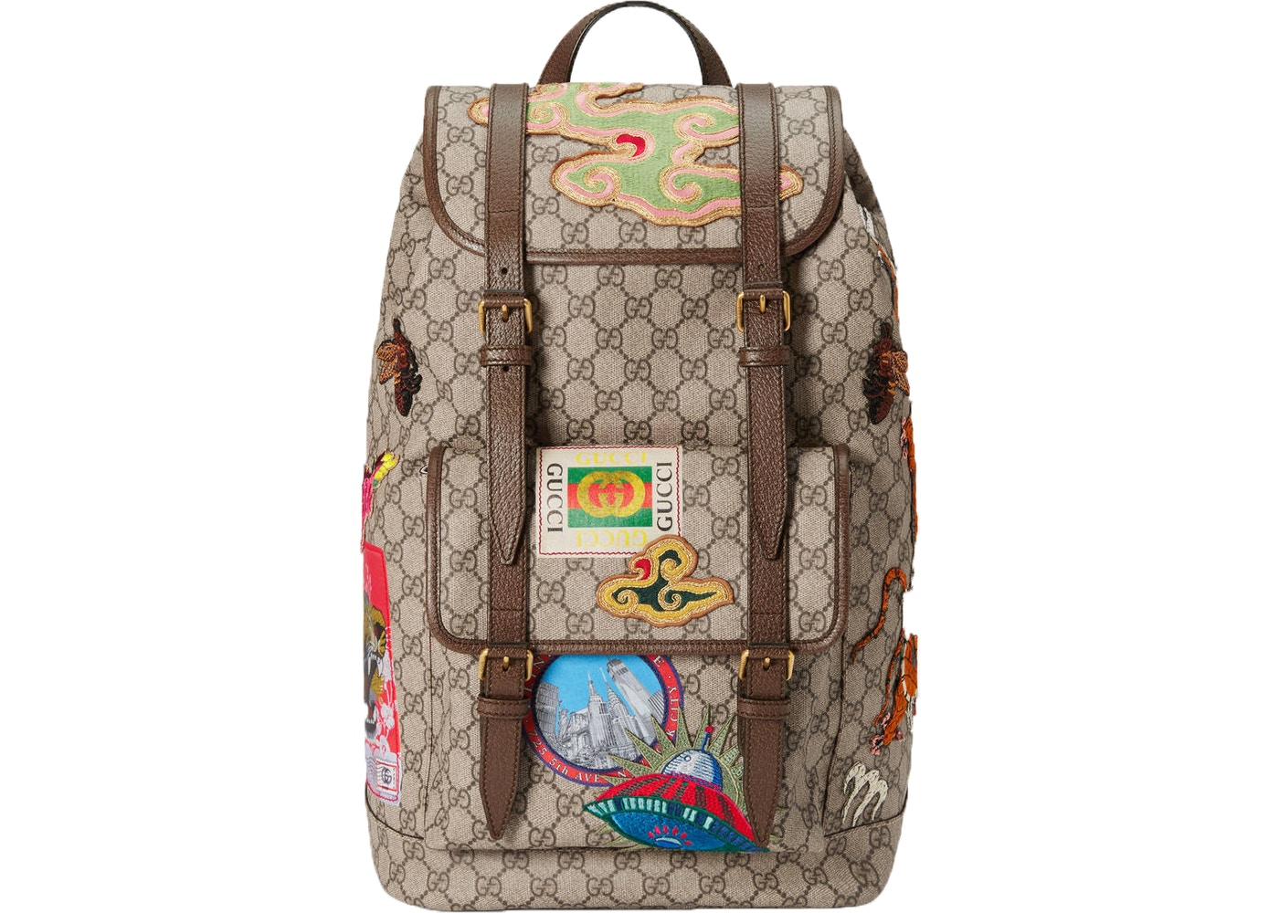 1146faa7742 Gucci Courrier Soft Backpack GG Supreme Embroidered Patches ...