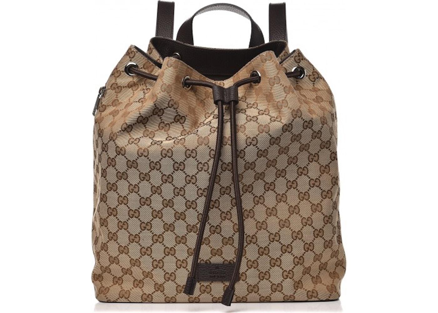 f7042c66b3b Gucci Drawstring Backpack Monogram GG Beige Brown. Monogram GG Beige Brown