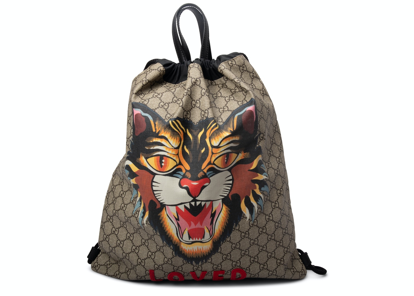 223a4a24e122 Gucci GG Supreme Soft Drawstring Backpack Angry Cat Print Beige ...