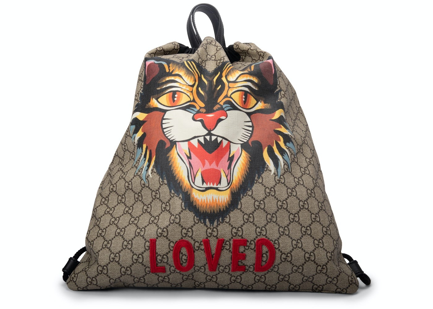 292163baf339 Gucci GG Supreme Soft Drawstring Backpack Angry Cat Print Beige Black