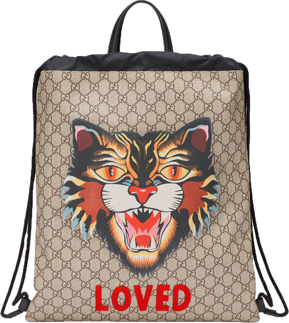 Gucci GG Supreme Soft Backpack,Drawstring Monogram GG Angry Cat Print Beige/Black/Multicolor