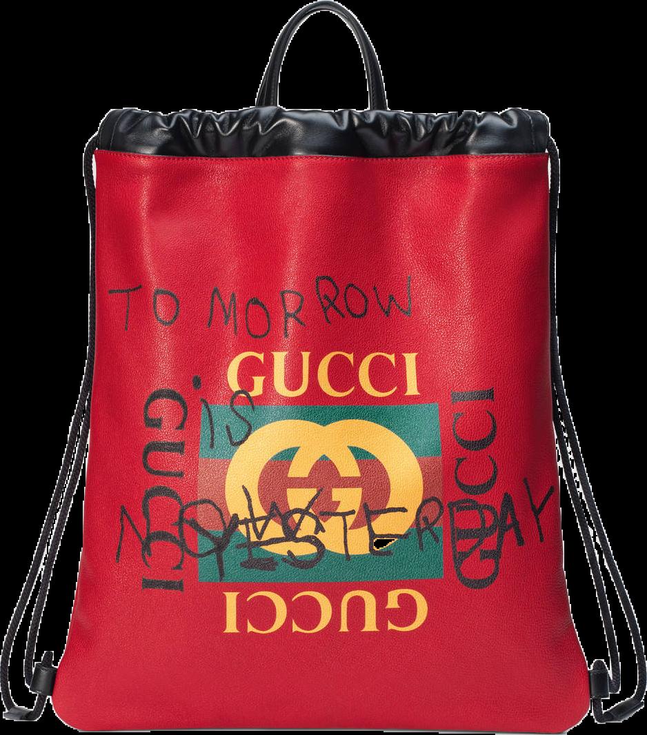 Gucci Coco Capitan Logo Backpack,Drawstring Web Detail Hibiscus Red/Yellow/Black/Green