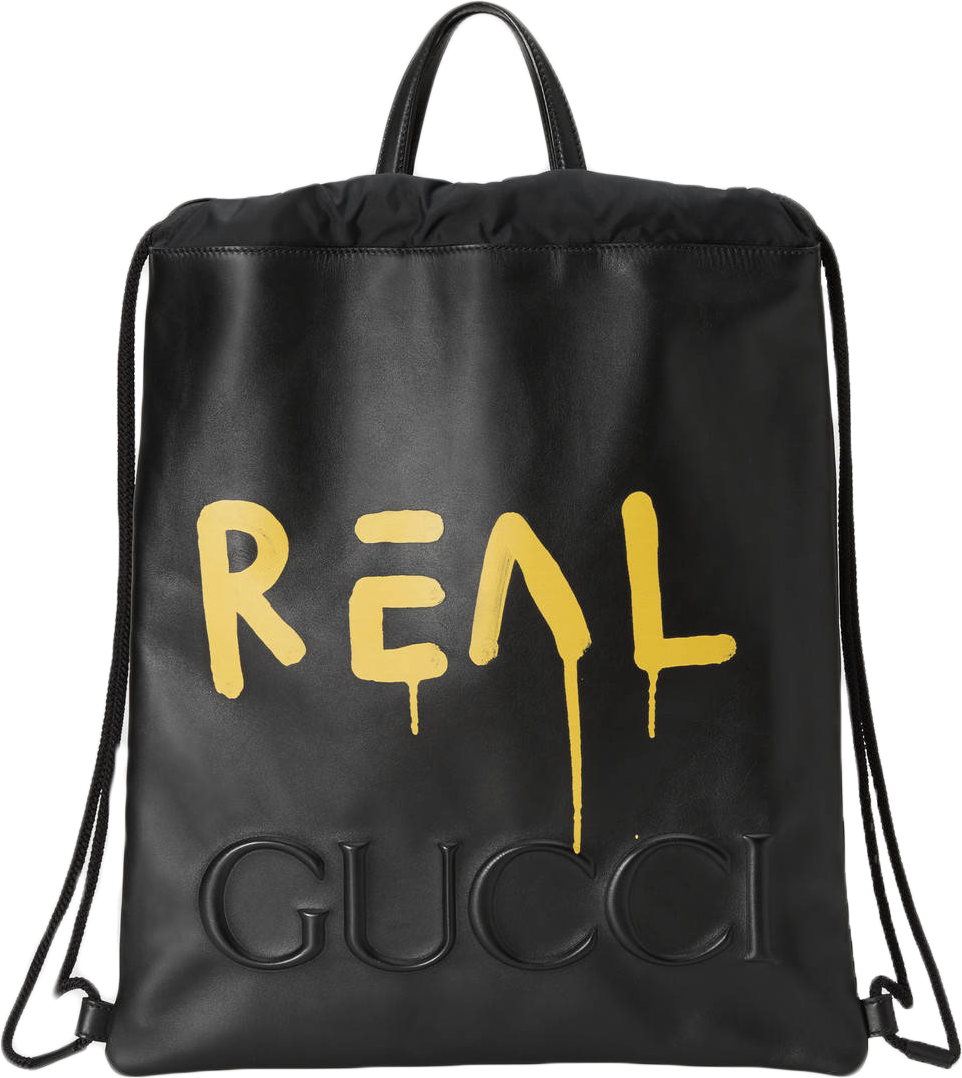 Gucci Gucci Ghost Print Backpack,Drawstring Embossed Gucci Trademark Black/Yellow