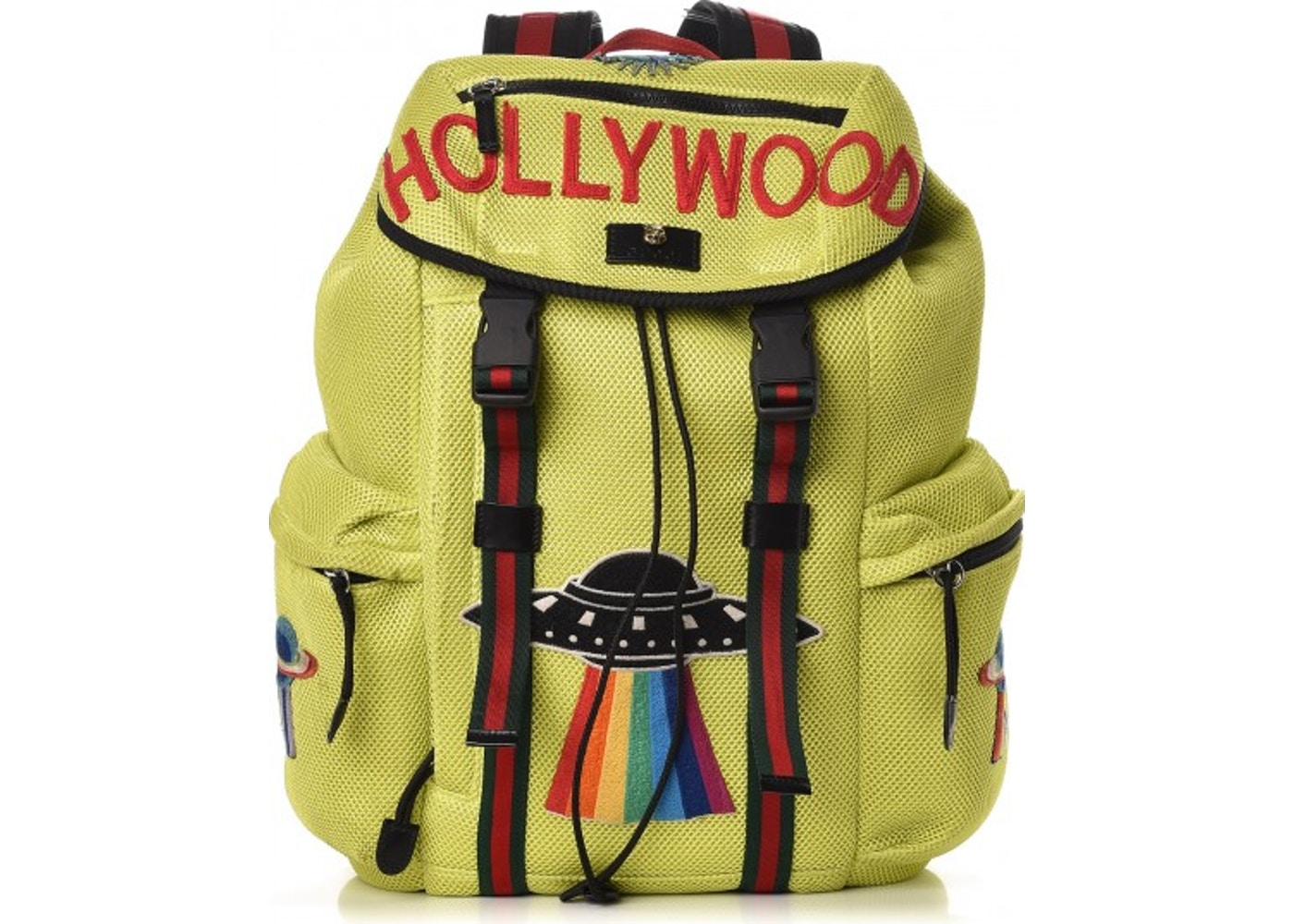 d6a860d33481a7 Gucci Backpack Embroidered Hollywood UFO Neon Green