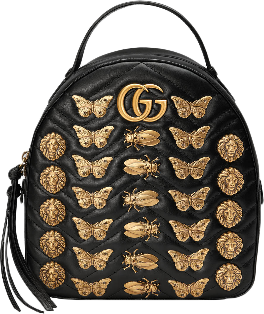 Gucci GG Marmont Backpack Animal Studs/ Double G logo Black