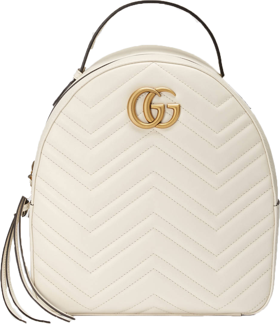 Gucci GG Marmont Backpack Quilted Double G Logo White