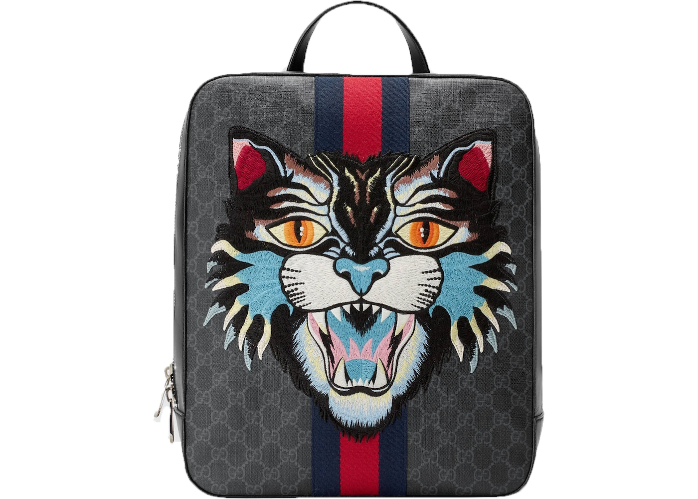 acab5e22e169 Gucci GG Supreme Angry Cat Backpack Monogram GG Embroidered ...