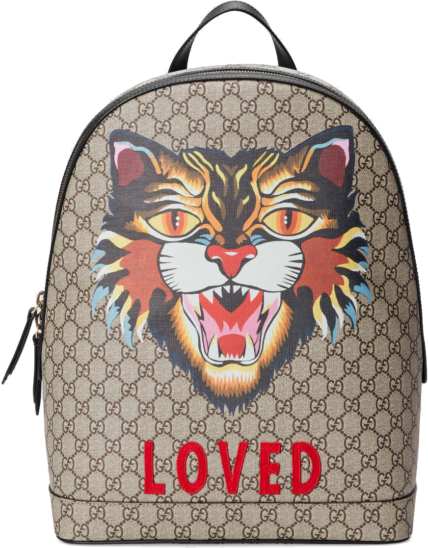 Gucci GG Supreme Angry Cat Backpack Monogram GG Embroidered Cat Beige/Black/Multicolor