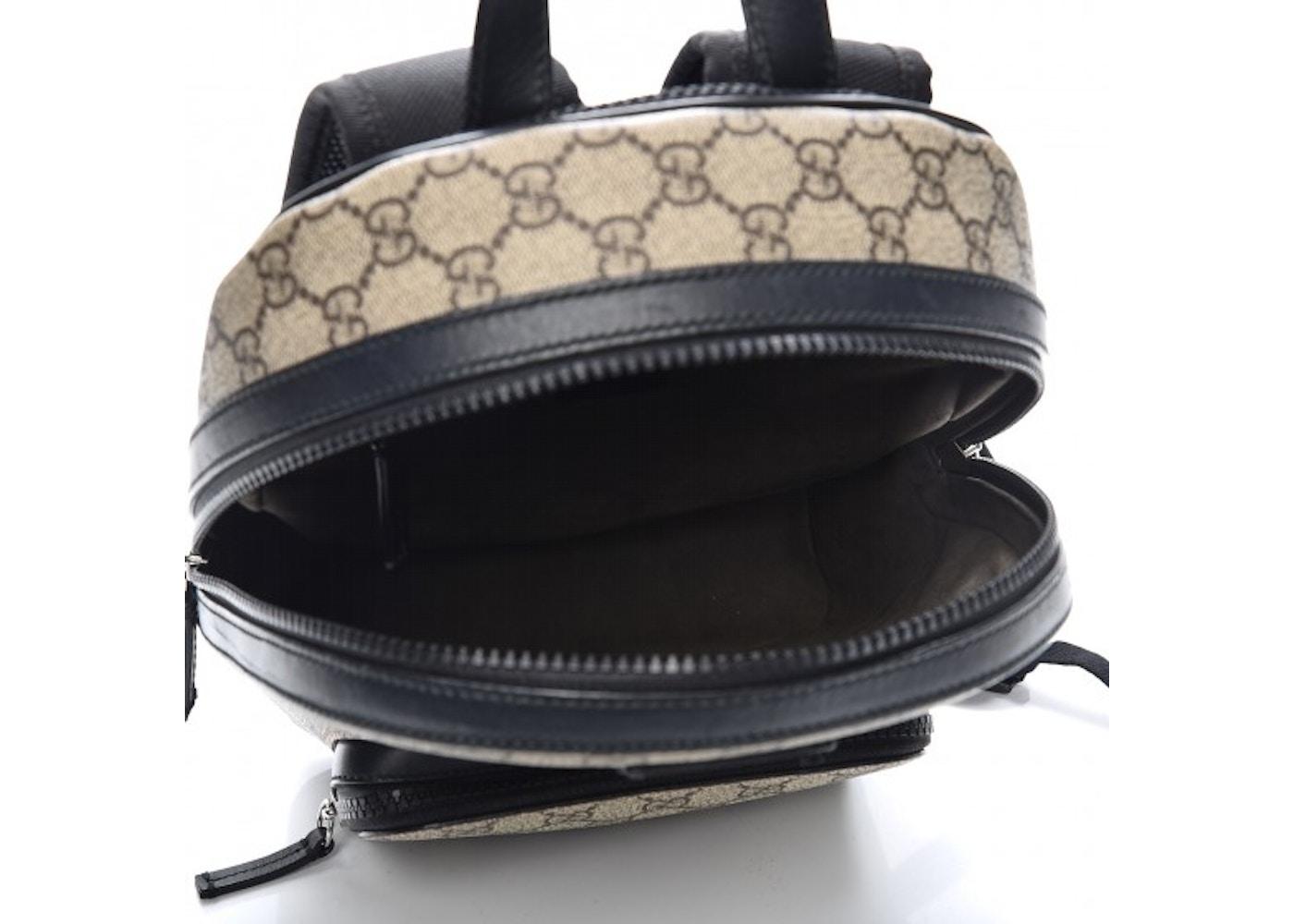 e0e6b071d1ae Gucci Front Zipper Pocket Backpack Monogram GG Supreme Beige/Black