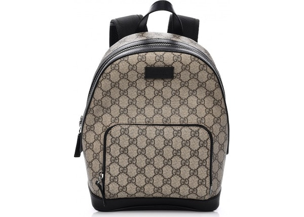 fbe314817c6 Gucci Front Zipper Pocket Backpack Monogram GG Supreme Beige Black
