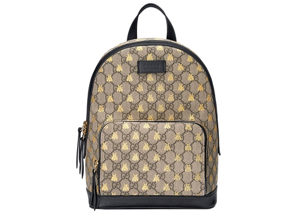 f58c304d Gucci Backpack GG Supreme Gold Bees Small Beige/Ebony/Black