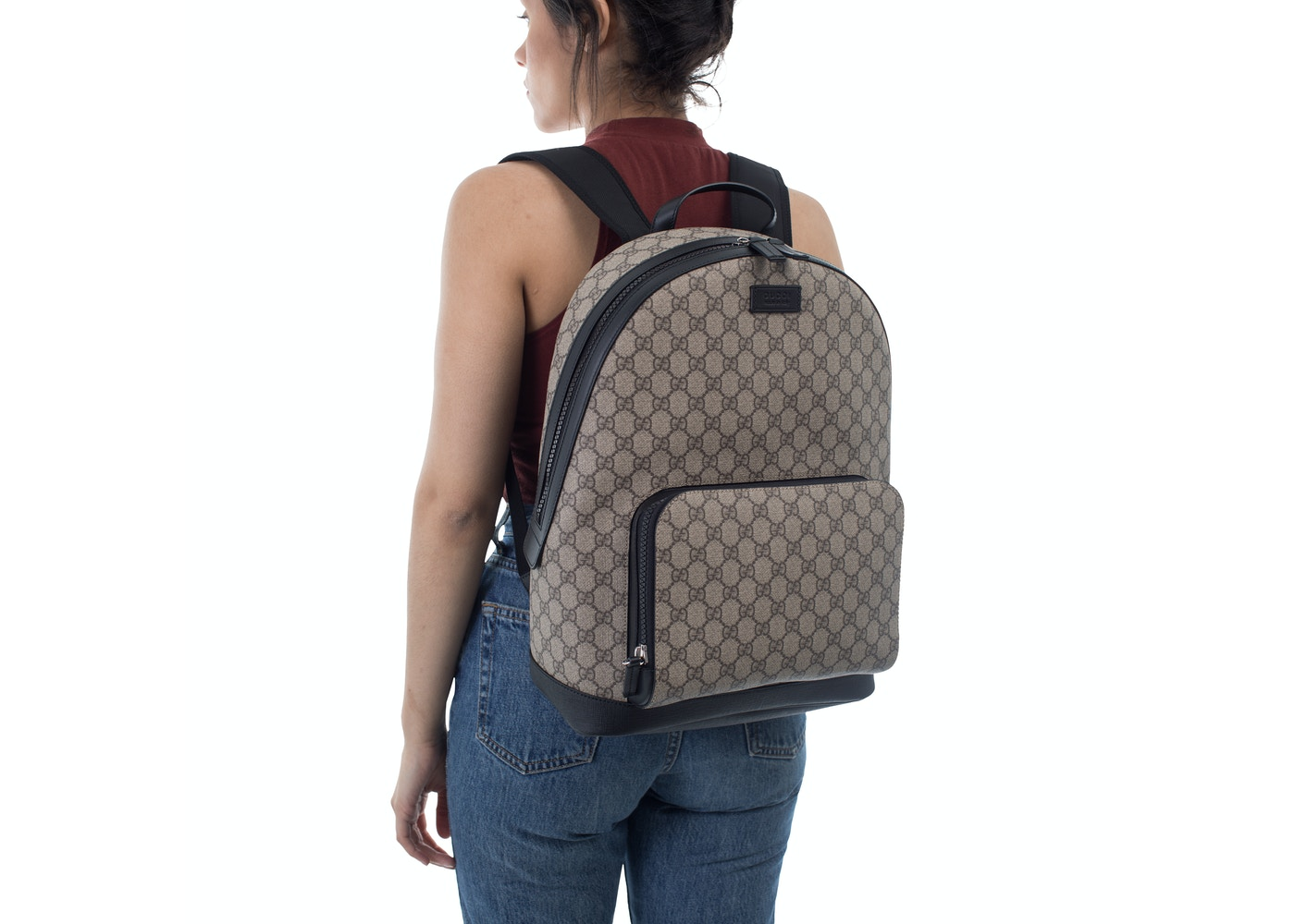 2be348108803f4 Gucci GG Supreme Backpack Front Zipper Pocket Beige/Black