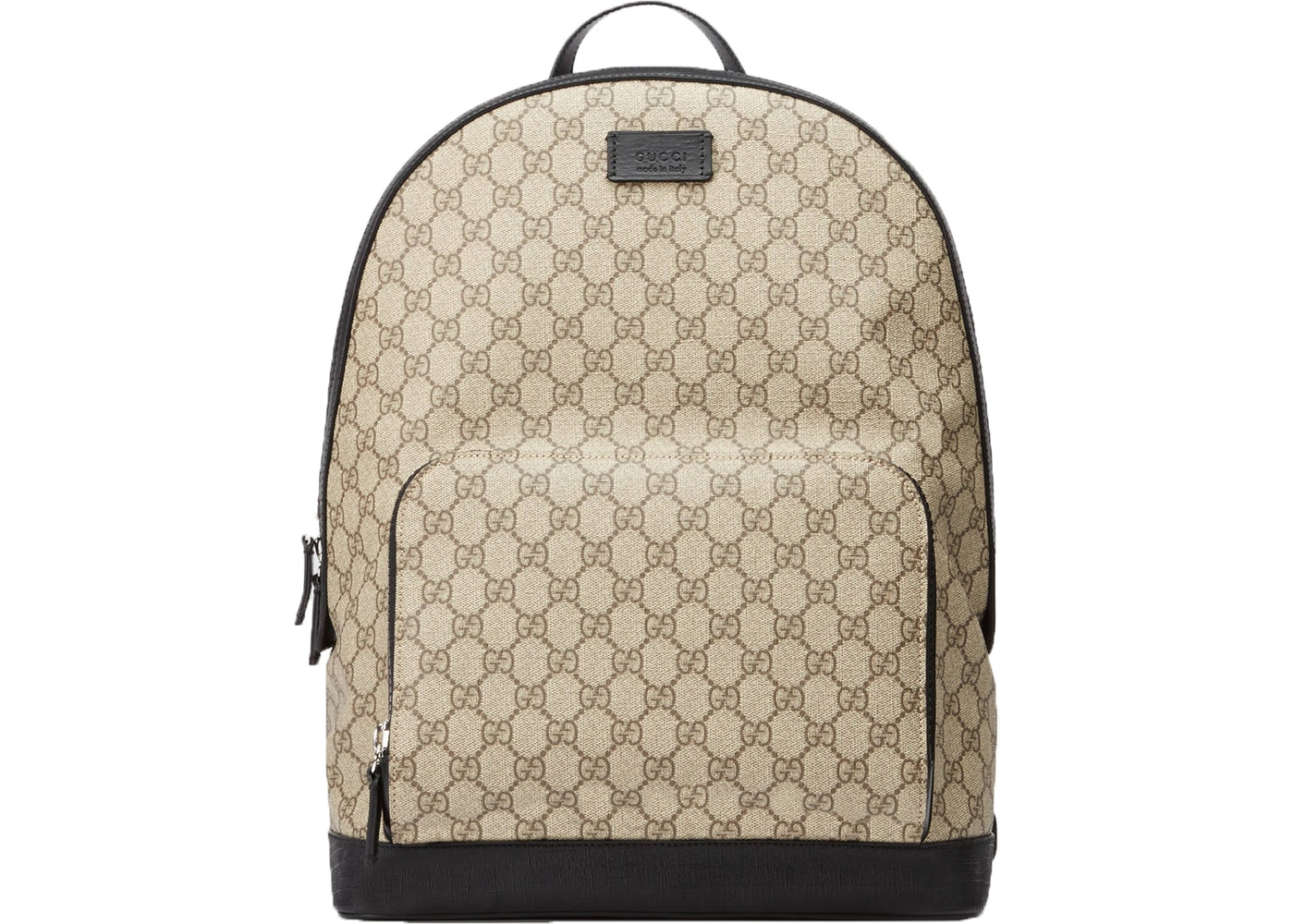 a1ca6f19f932 Gucci GG Supreme Backpack Front Zipper Pocket Beige/Black. Front Zipper  Pocket Beige/Black
