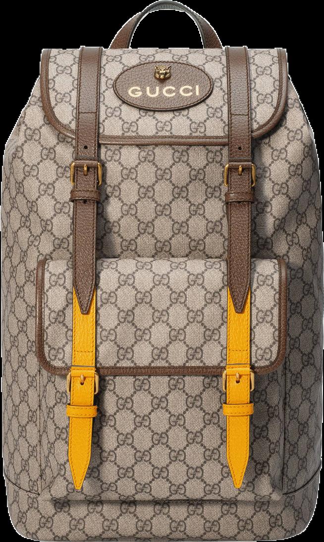 Gucci Soft GG Supreme Backpack Monogram GG Feline Head Beige/Ebony/Yellow/Green/Red