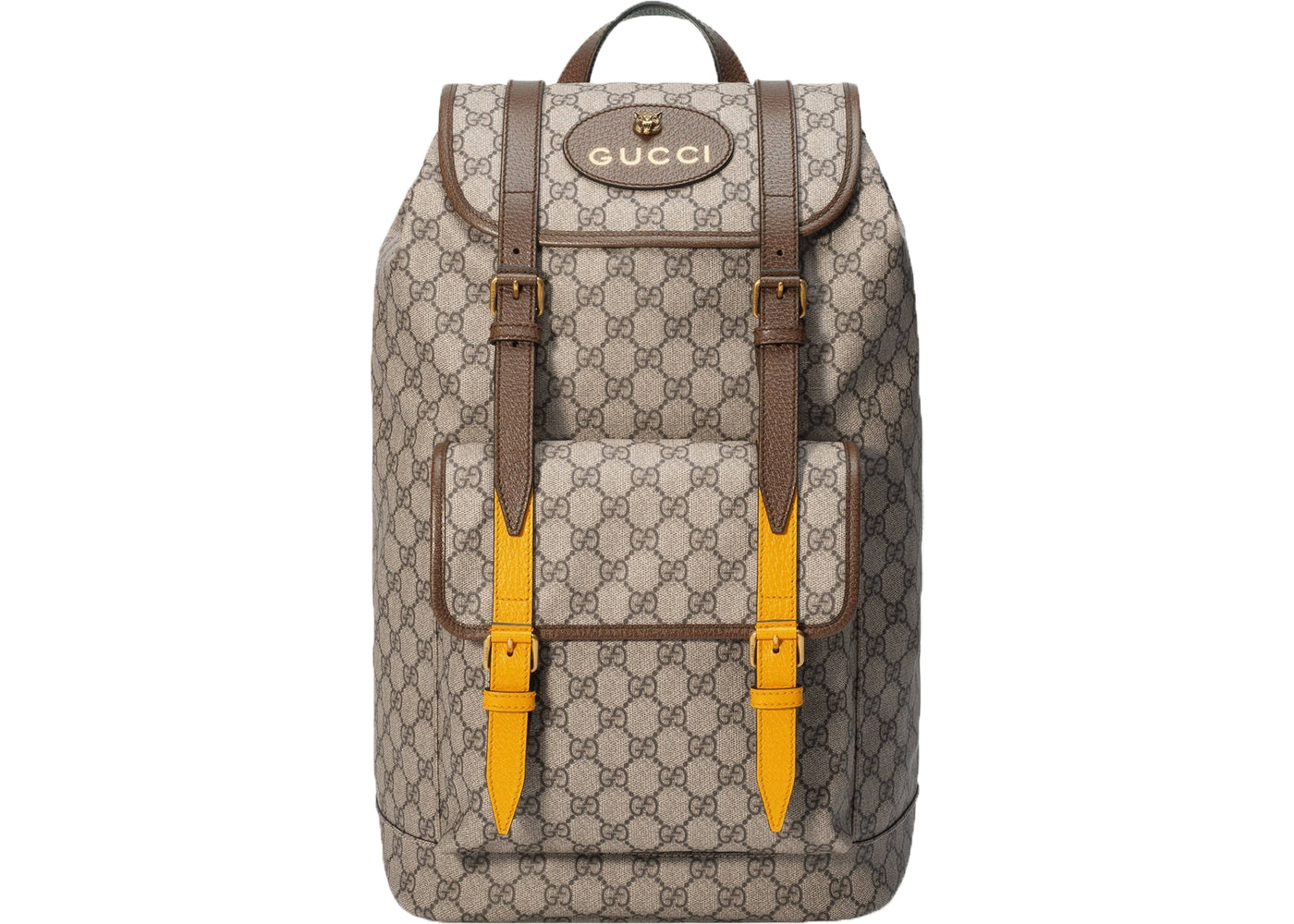 a06277eaf883 Gucci Soft GG Supreme Backpack Monogram GG Feline Head Beige ...