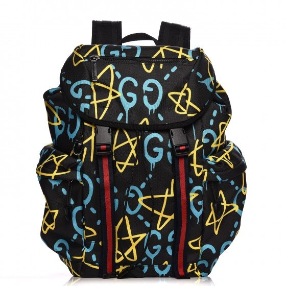 Gucci GucciGhost Techpack Backpack Graffiti Print Black/Red/Light Blue/Yellow