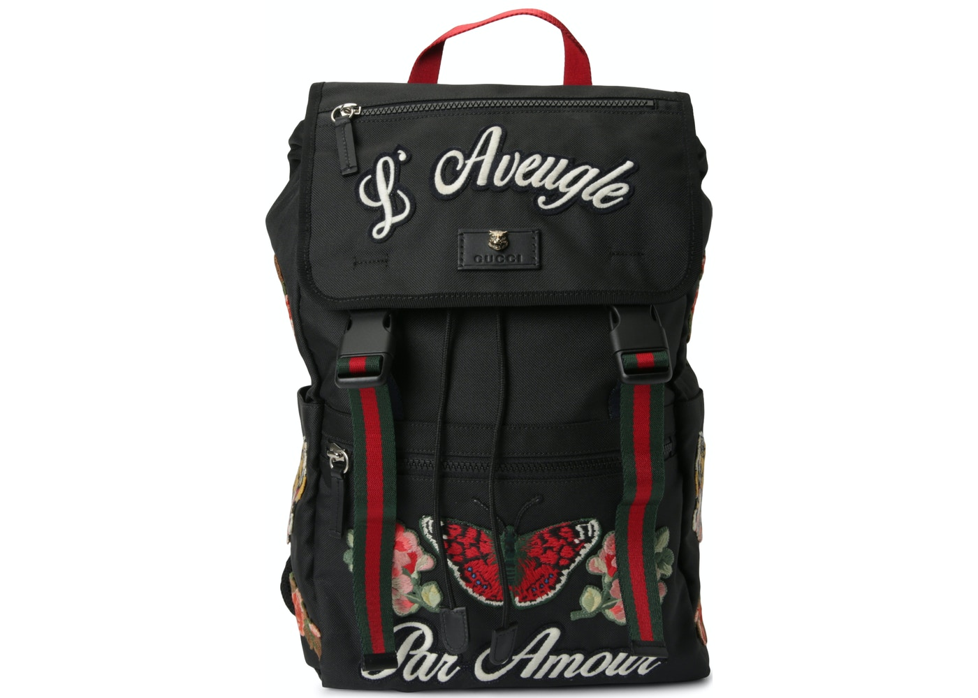 3099f1da1604b1 Gucci Backpack L Aveugle Par Amour Embroidered Web Strap Black