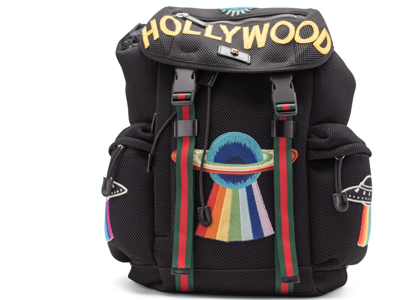 a2014a11ee2 Gucci Mesh Embroidery Backpack Hollywood UFO Planet Embroidery ...