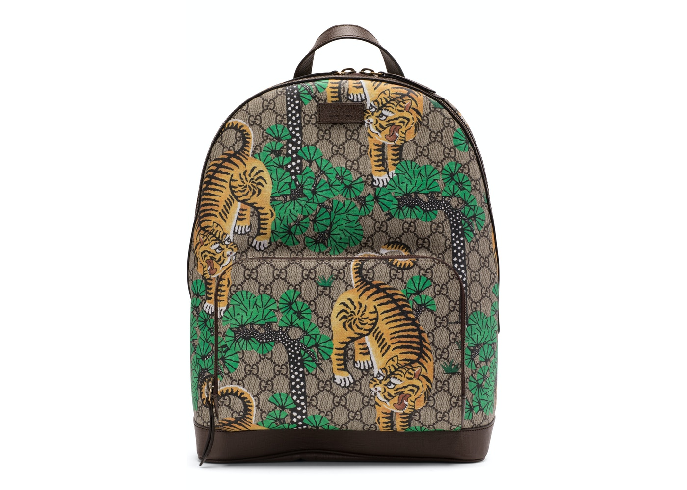 fafc6ef2958e Gucci Tiger Print Backpack GG Supreme Monogram Brown Green Yellow