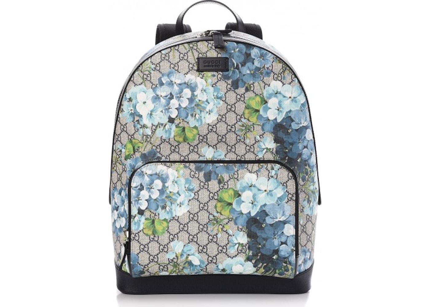 e71f513d0aed Gucci Backpack Monogram GG Supreme Blooms Print Medium Blue