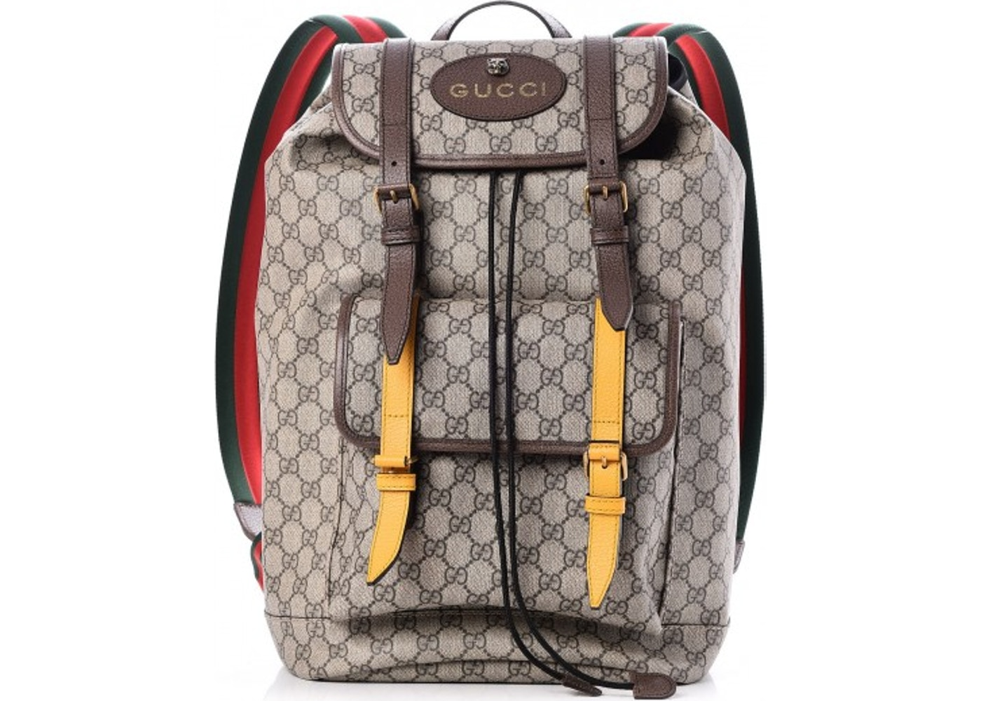 c3e13e334e05 Gucci Soft Backpack GG Supreme Web Straps Brown Yellow. GG Supreme Web  Straps Brown Yellow