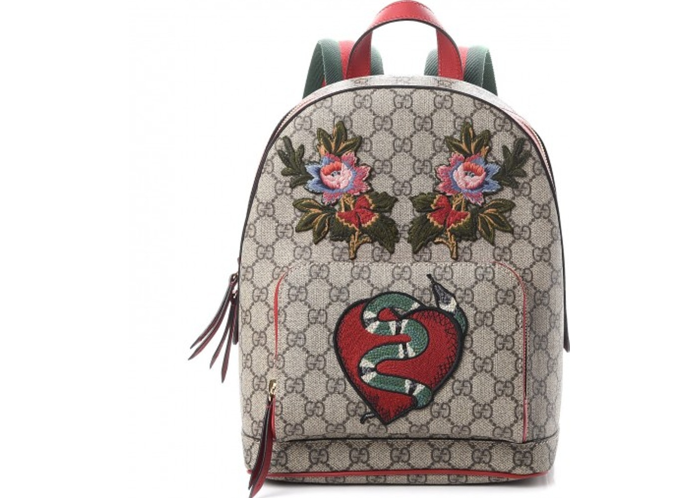 756375427d5f Gucci Backpack Monogram GG Supreme Flower Snake Patches Small ...