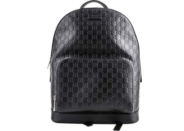 a55f2bd332b Gucci Signature Backpack GG Monogram Front Zipper Pocket Embossed Black