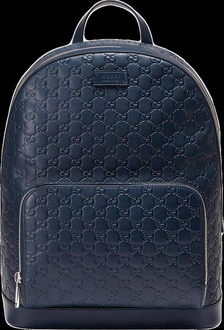 Gucci Signature Backpack Monogram GG Front Zipper Pocket/Embossed Blue