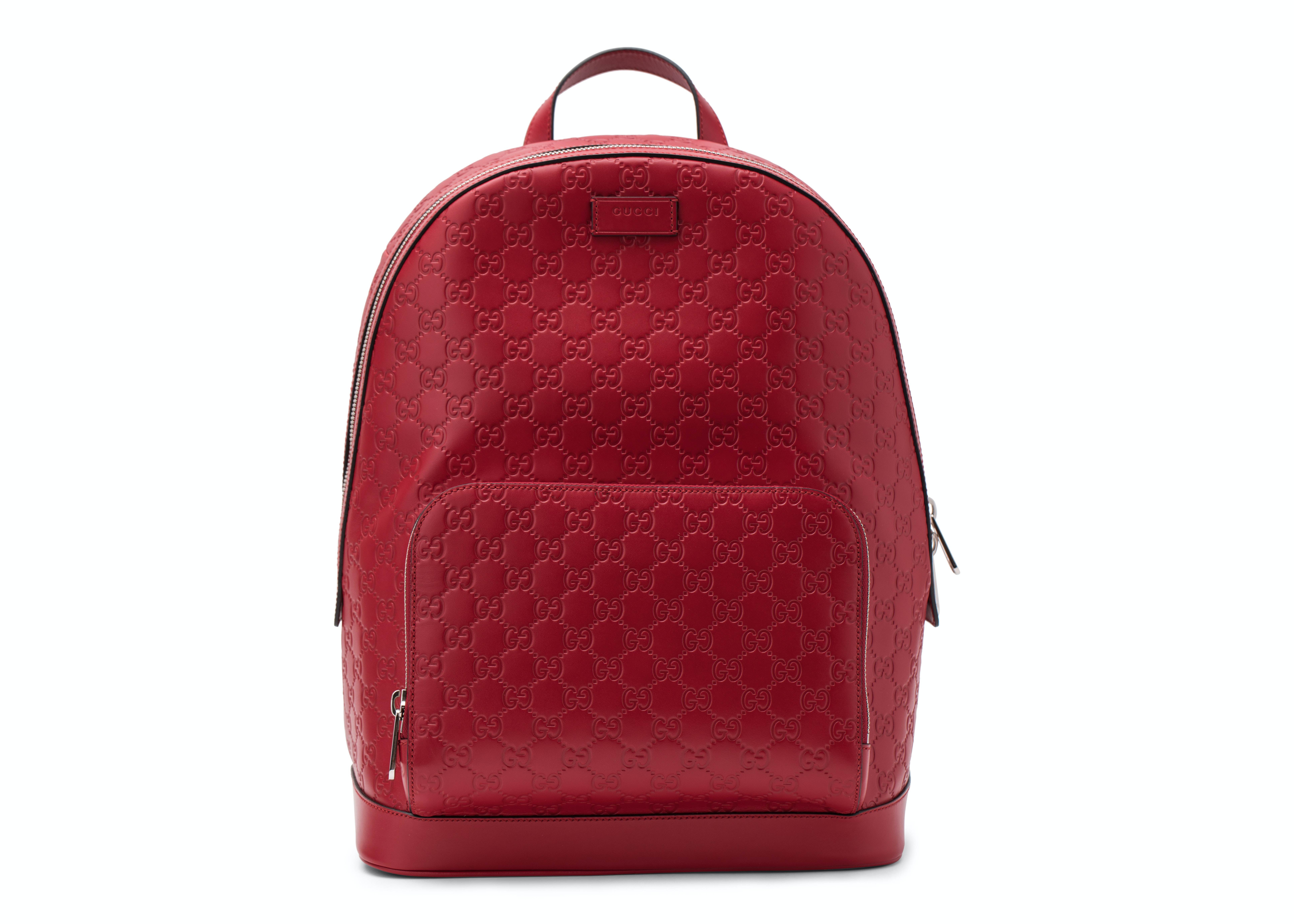 Gucci Signature Backpack Monogram GG Front Zipper Pocket/Embossed Hibiscus Red