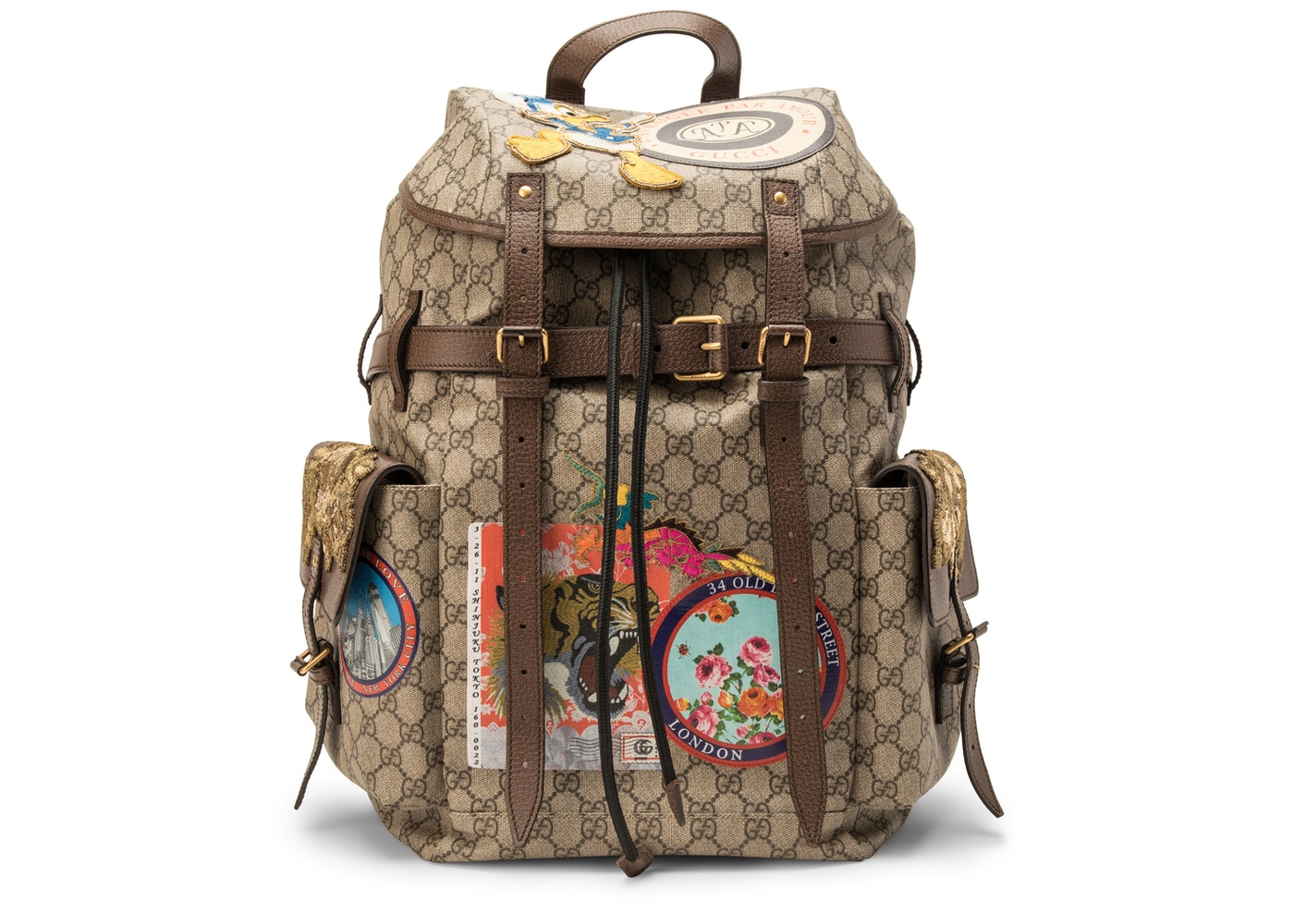 f50722010623 Gucci Soft Backpack GG Supreme GG Appliques/ Donald Duck at the ...