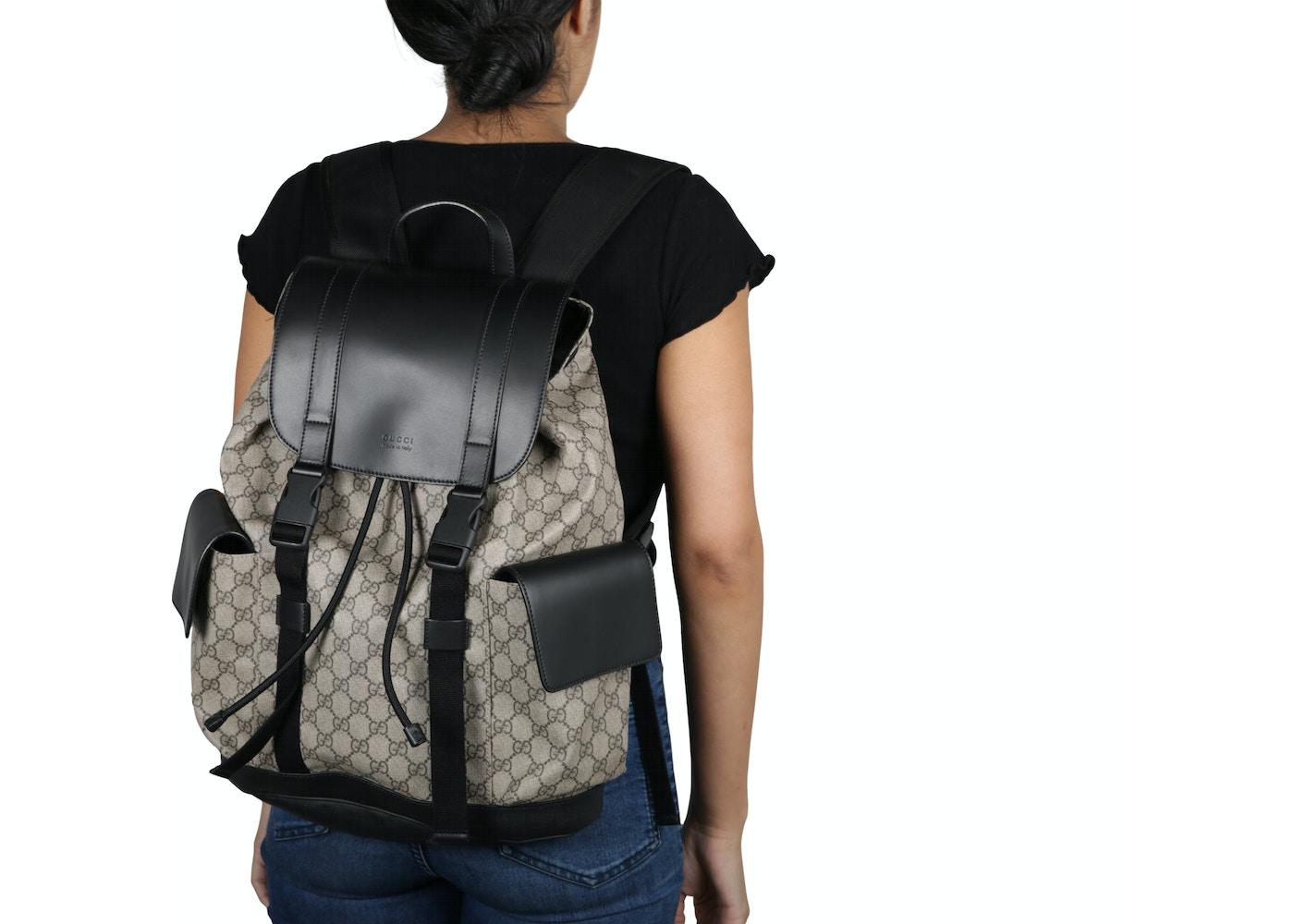 44e70a80461 Gucci Soft Backpack Monogram GG Black Brown