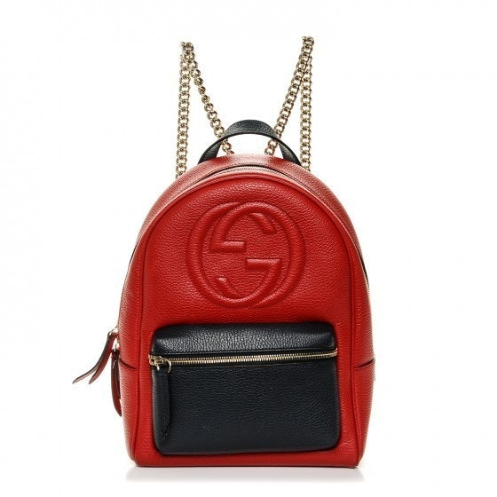 Gucci Soho Chain Backpack Pebbled Bicolor Large Red/Navy