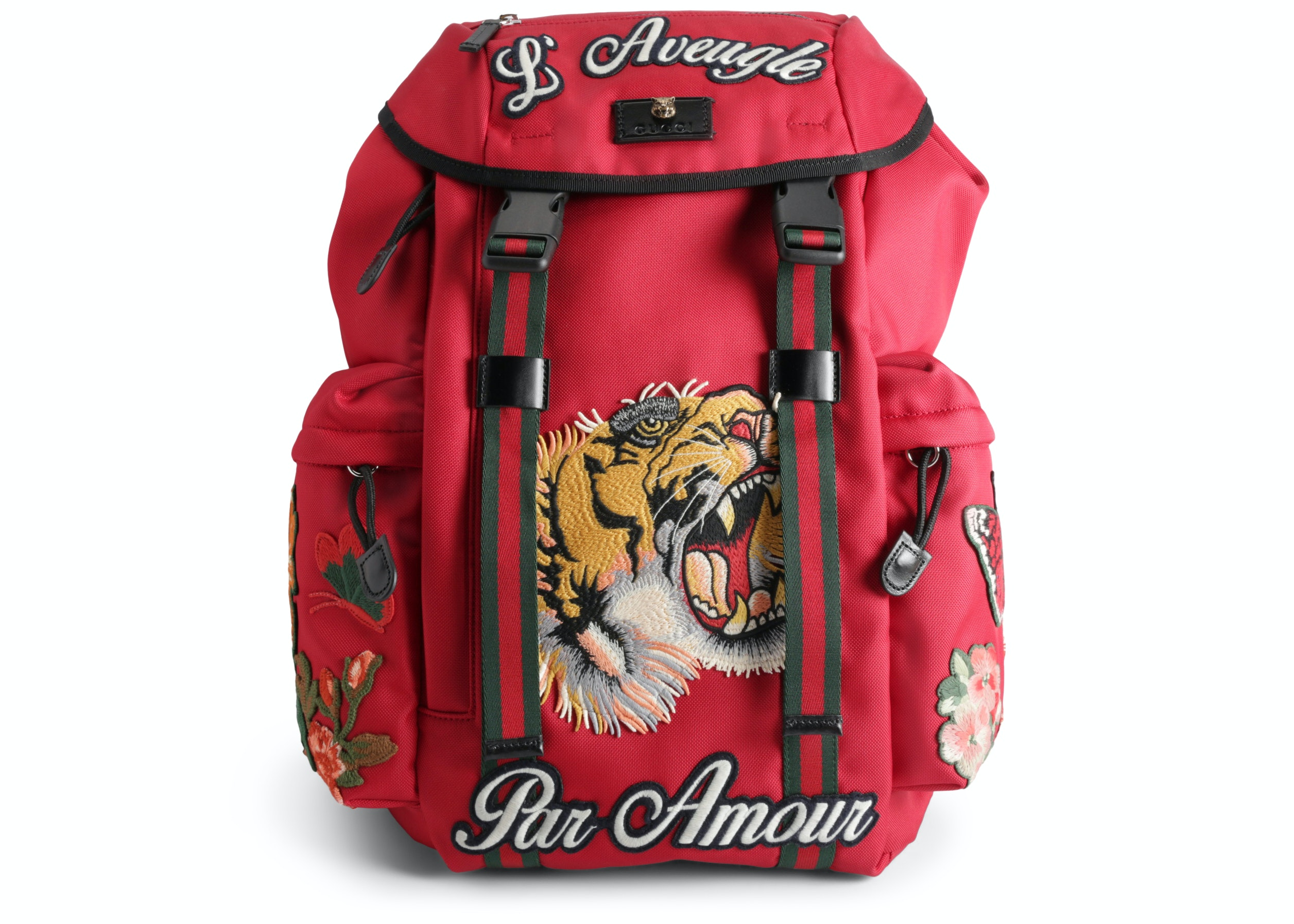 Gucci Backpack L'Aveugle Par Amour Embroidered Techno Canvas Red