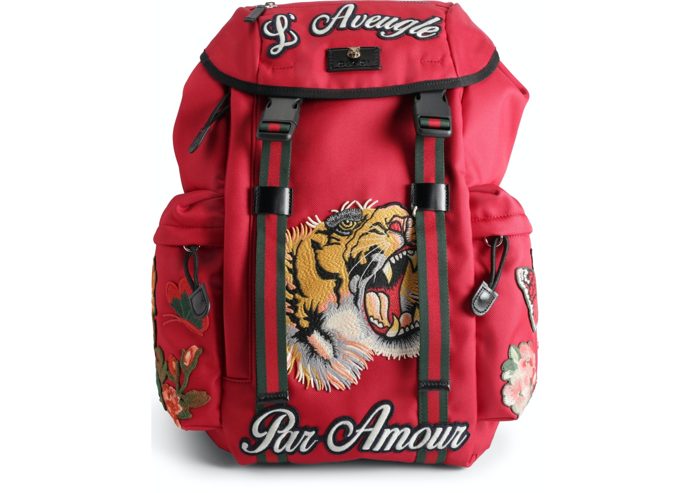 f1d349a78b62e7 Gucci Backpack L'Aveugle Par Amour Embroidered Techno Canvas Red