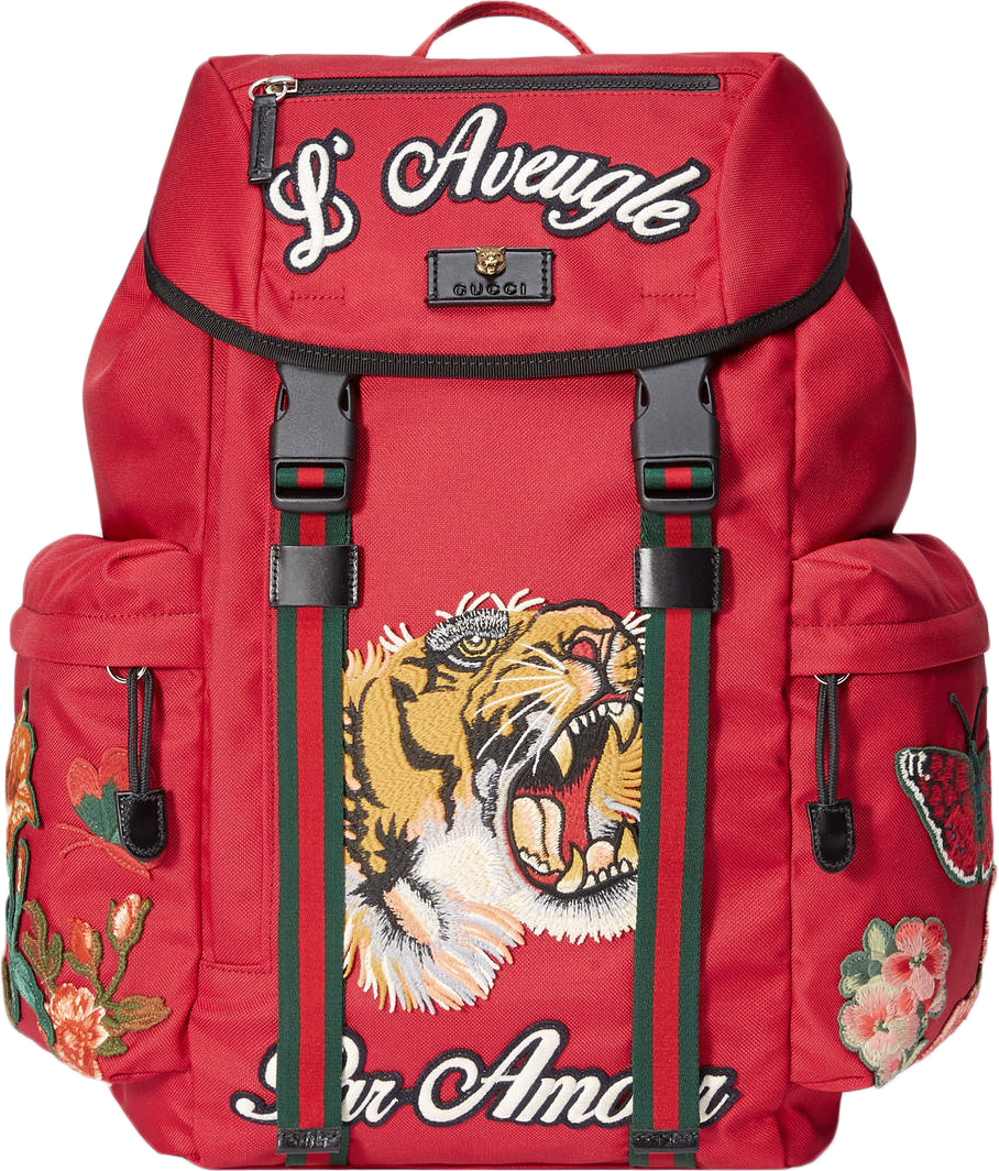 Gucci Techno Canvas Embroidery Backpack Tiger/Flowers/Emboidery/L'Aveugle Par Amour Embroidery Red/Multicolor