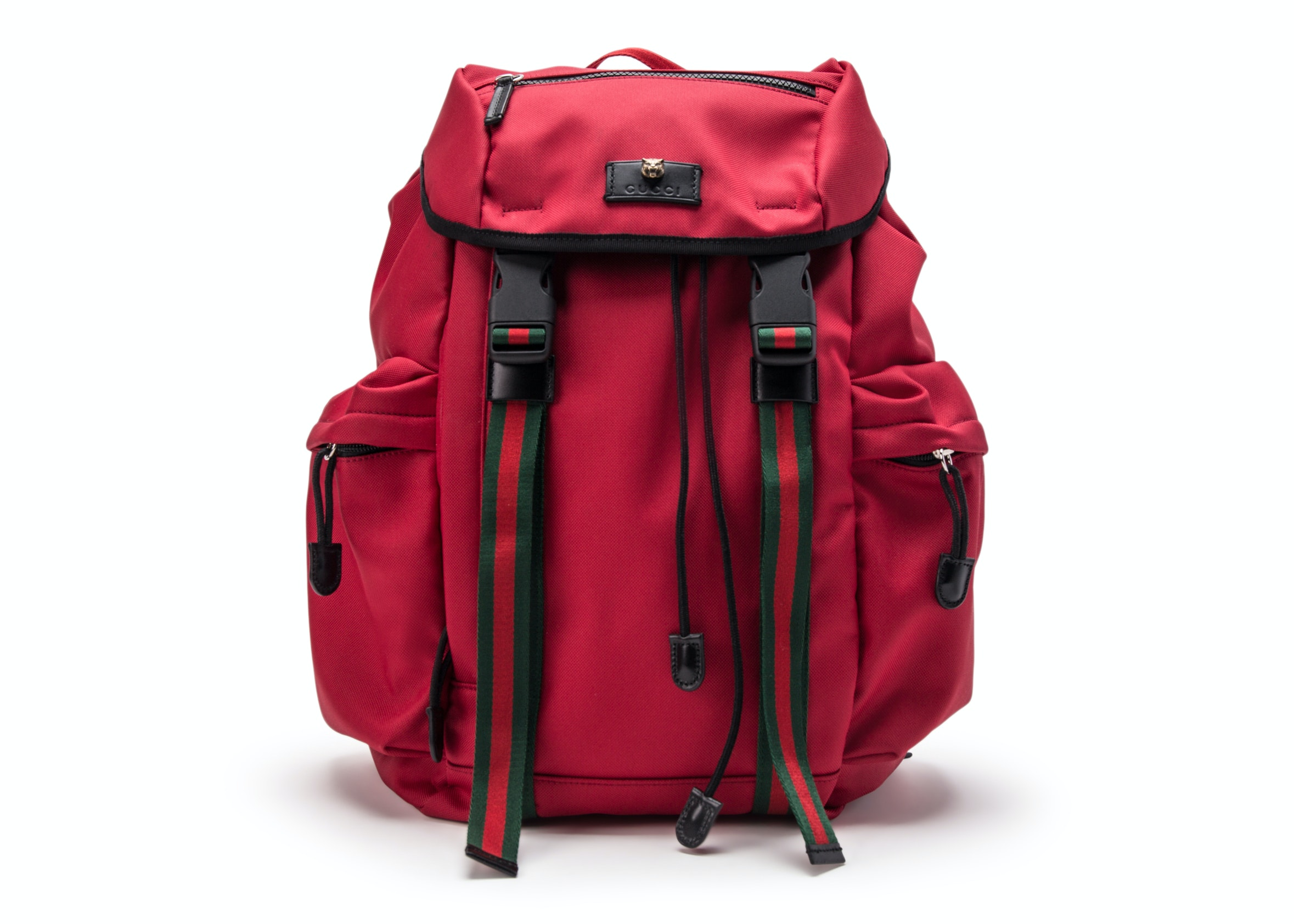 Gucci Techno Canvas Backpack Web Detail Red/Black/Blue