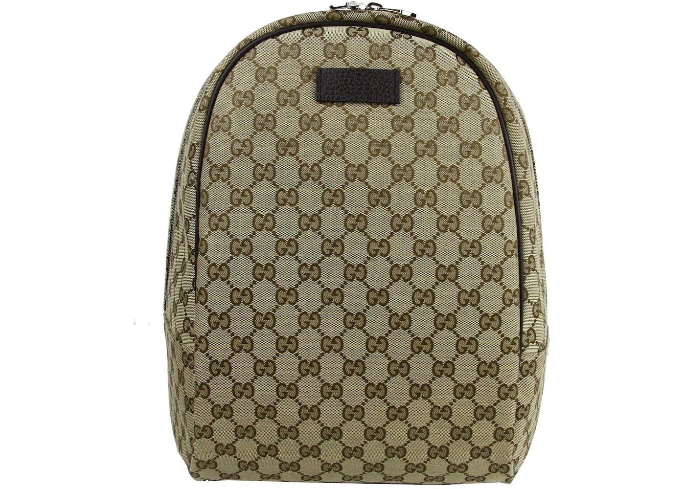Gucci Top Zip Backpack Monogram GG Beige Brown