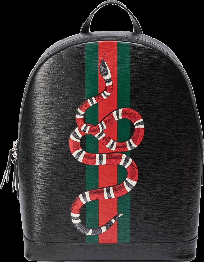 Gucci Web and Kingsnake Backpack Black/Green/Red/White