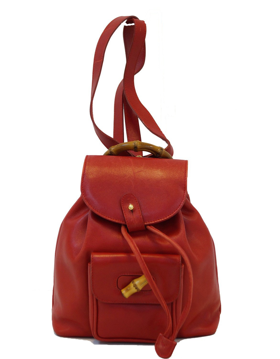 Gucci Bamboo Backpack Mini Leather Red