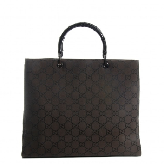 Gucci Bamboo Handle Tote Monogram GG Brown