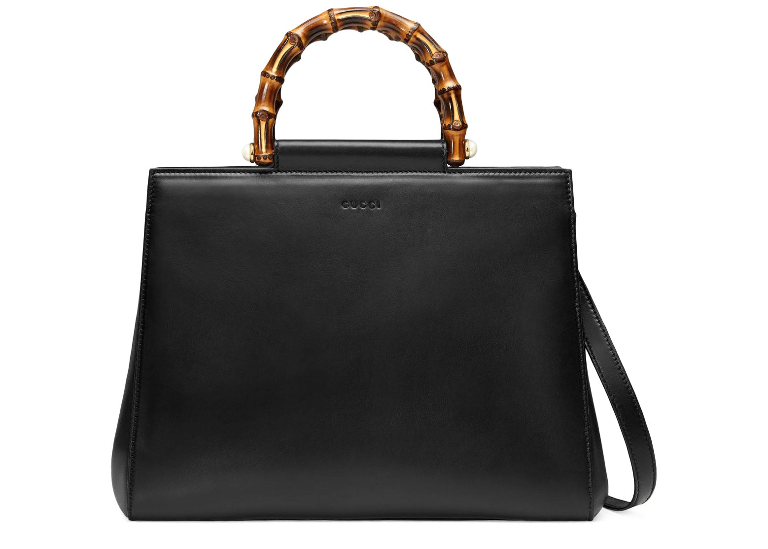 Gucci Bamboo Nymphaea Top Handle Medium Black