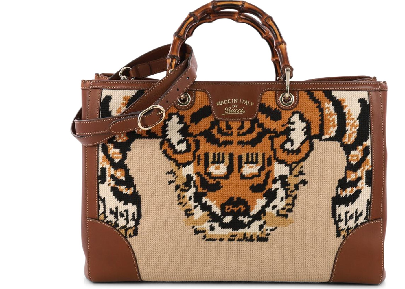 d1b8bb4b086ebc Gucci Bamboo Shopper Tote Embroidered Lion Large Brown/Orange. Embroidered  Lion Large Brown/Orange