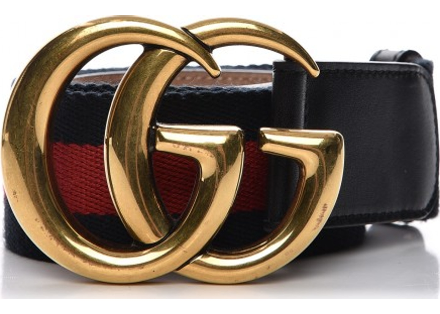 2704828a9 Gucci Mens Double G Belt 100 Web 40 Black/Blue/Red
