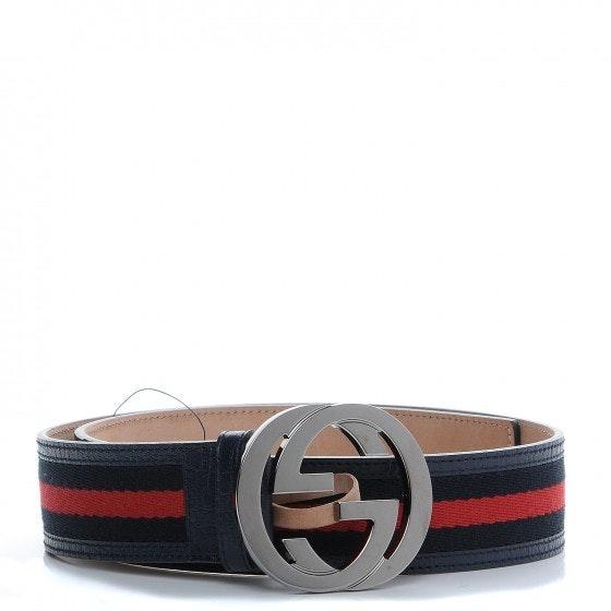 Gucci Interlocking G Belt Web Navy Blue/Red