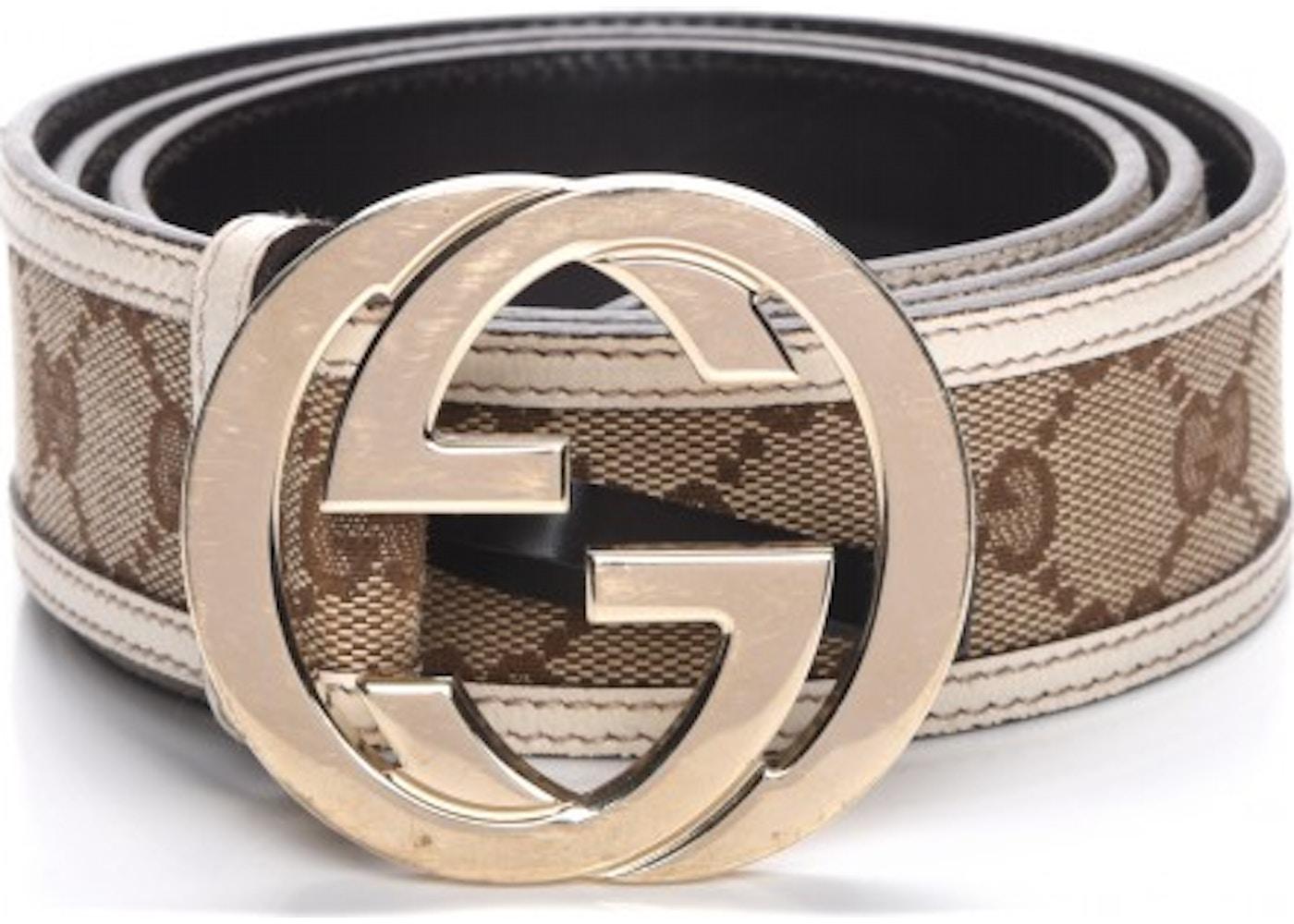 6d076dab055 Gucci Beige Brown Tan Gg Monogram Canvas 85b M Belt Tradesy