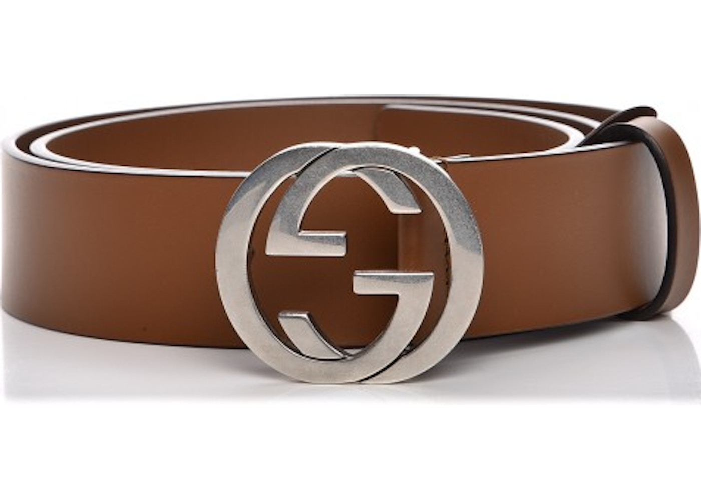 1f0e12965e4 Gucci Interlocking G Belt Silver-tone Brown