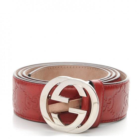 Gucci Interlocking G Belt 95 Monogram Guccissima 38 Red