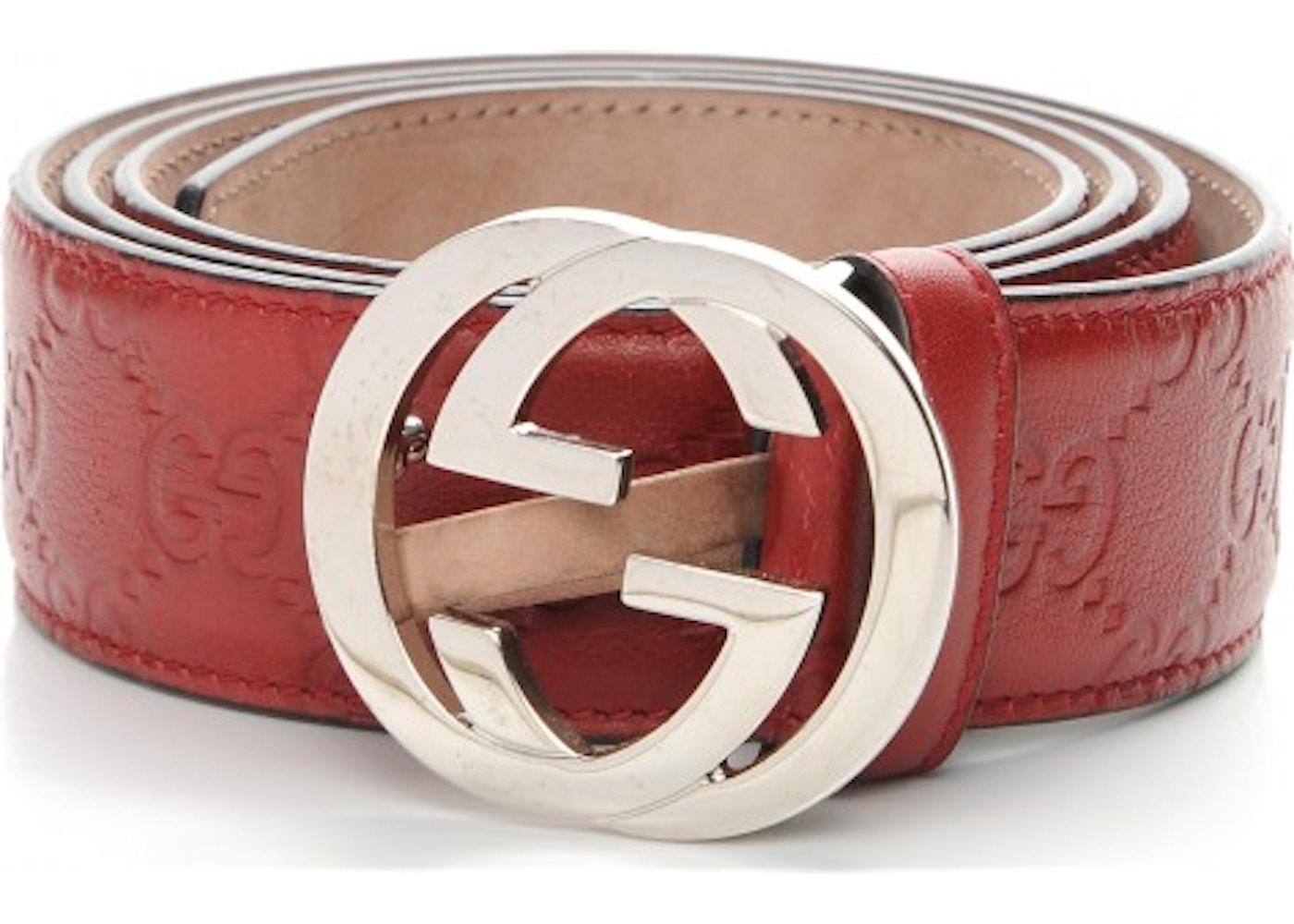 7793c7df809 Gucci Interlocking G Belt 95 Monogram Guccissima 38 Red